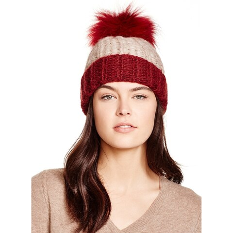 AQUA Ladies Taupe & Red Colorblock Knit Cuffed Beanie With Fur Pom Pom $88
