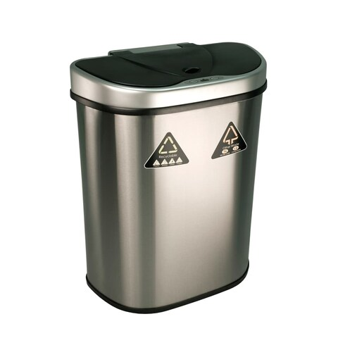 Nine Stars DZT-70-11R 18.5 Gallon Half-Moon Shaped Trash Can with Infrared Motio - STAINLESS STEEL - N/A