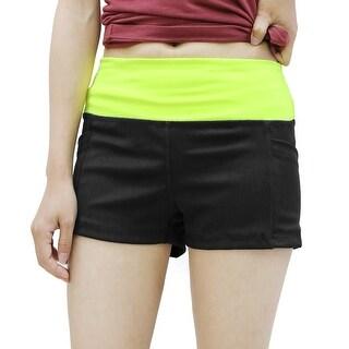 Women Black Yellow Size XL Dual Pockets Waistband Skinny Yoga Sport Shorts Pants
