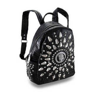 Glossy Vinyl Mock Crock Rhinestone Skull Studded Backpack Purse - Black