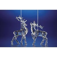 "Pack of 8 Icy Crystal Decorative Christmas Reindeer Ornaments 6.4"" - CLEAR"