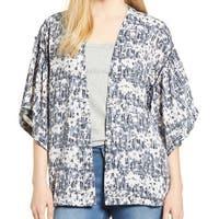 Bobeau Blue Multi Womens Size XS Open Front Floral Print Jacket