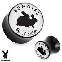 """Bunnies Do It Better"" Playboy Exclusive Pattern Black Acrylic Saddle Plug (Sold Individually)"
