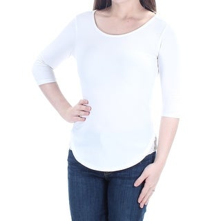 BAR III Womens New 1592 White Lace Jewel Neck 3/4 Sleeve Casual Top 2XS B+B