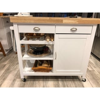 Simple Living Martha Rubberwood Kitchen Cart