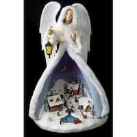 "14.5"" Welcoming Christmas Lighted Musical Angel with City Figure"