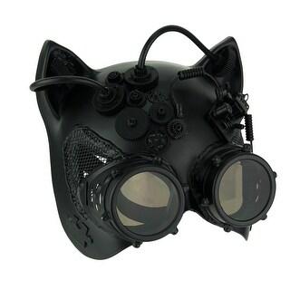 Black Robot Kitty Steampunk Cat Face Costume Mask
