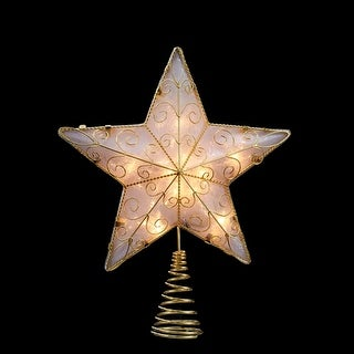 "11.75"" Lighted Gold Reflector Star Christmas Tree Topper - Clear Lights"
