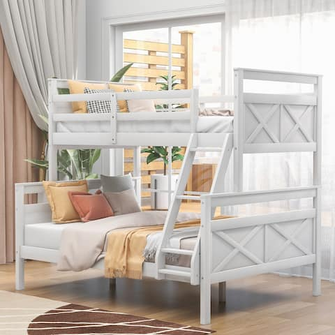 Twin Over Full Bunk Bed with Ladder, Safety Guardrail for Kids Bedroom