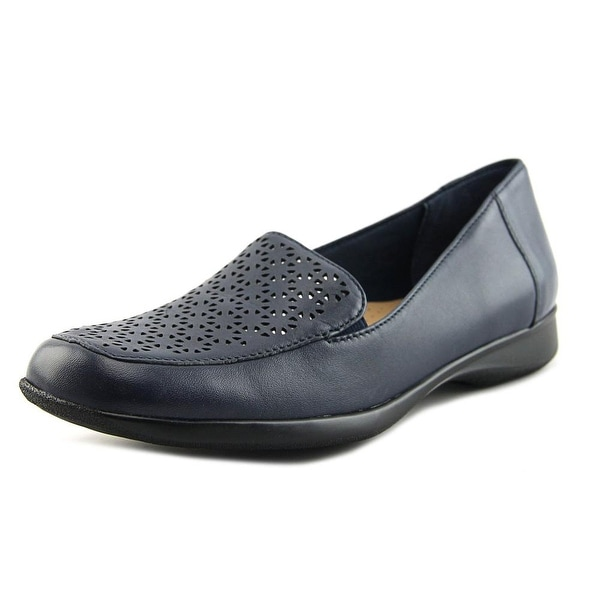 Trotters Jenn Laser Women N/S Square Toe Leather Blue Loafer