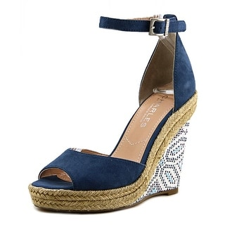 Charles By Charles David Bay Women Open Toe Synthetic Blue Wedge Sandal