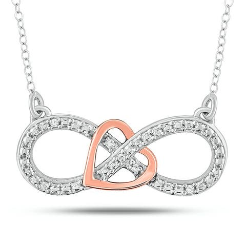 Cali Trove Diamond Fashion necklace in 10KT Pink GoldSterling Silver