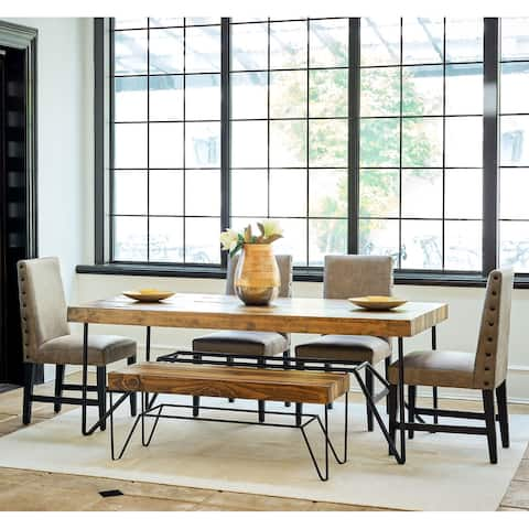Picket House Furnishings Tyler 6PC Standard Height Dining Set-Table, Four Side Chairs & Bench