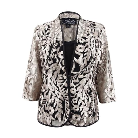 Alex Evenings Women's Petite Embroidered Jacket & Top - Black/Taupe