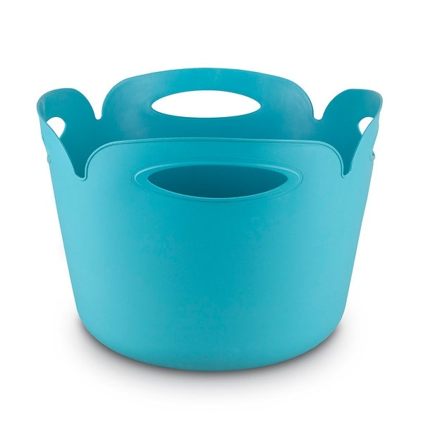 Keter Petal Rubber 24L Tub Tote Turquoise Cove - 11.0 in. x 16.0 in. x 16.0 in.