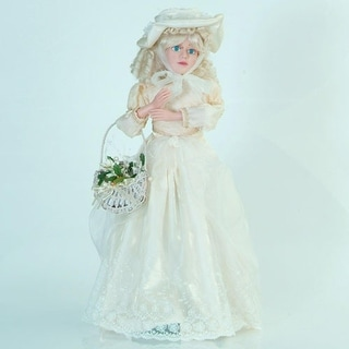 "26"" Animated Angelic Girl Doll Christmas Figure Decoration with Ivory Dress"