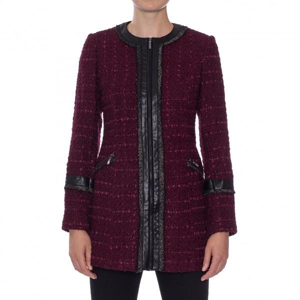 Laundry by Shelli Segal Ribbon Trim Tweed Coat