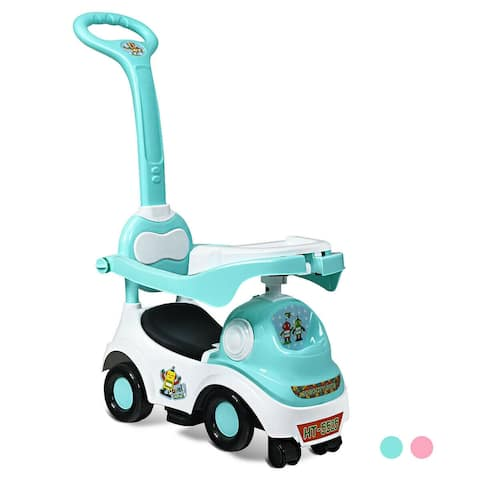 3-in-1 Ride On Push Car with Music Box & Horn-Green