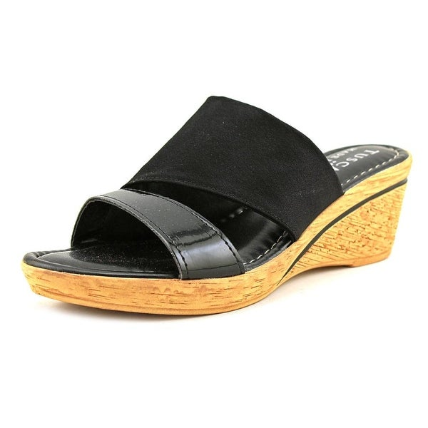 Easy Street Adagio Women Blk Pat/Strch Sandals