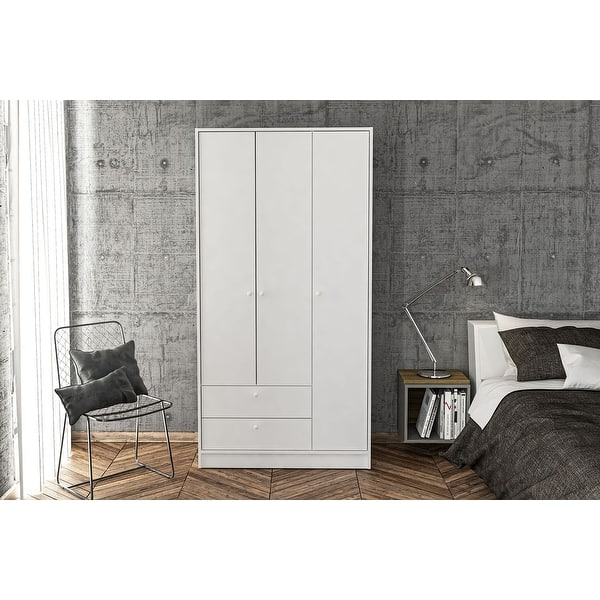 Shop Polifurniture Denmark Wardrobe With 3 Doors And 2 Drawers Overstock 31994645