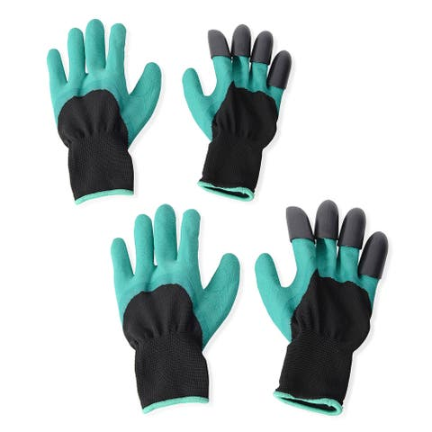 New Set of 2 Latex Polyester Puncture Resistant Claws Garden Gloves