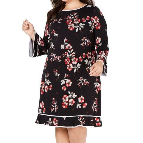 Alfani Womens A-Line Dress Black Size 20W Plus Floral Print Bell Sleeve