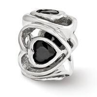 Italian Sterling Silver Reflections Black CZ Heart Bead (4mm Diameter Hole)