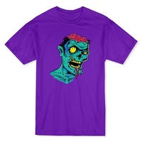 Halloween Zombie Head Half Brain Cartoon Men's Purple T-shirt