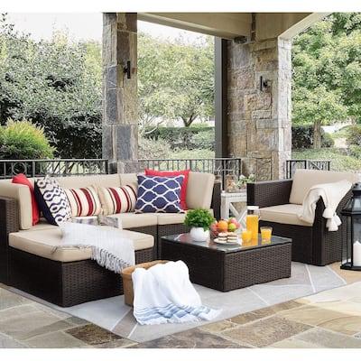 6 Pieces Patio Furniture Set Outdoor Sectional Sofa Conversation Set