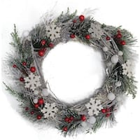 "13"" Snowflakes and Berries Winter Foliage Christmas Wreath - Unlit"