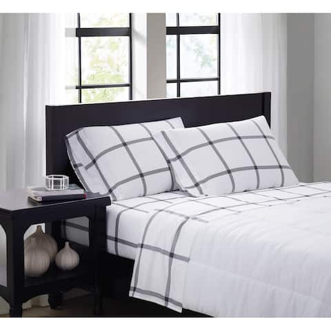 Truly Soft Printed Windowpane 4 Piece Sheet Set