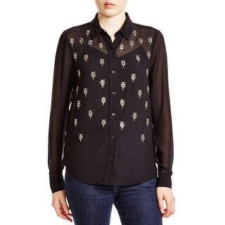 MICHAEL Michael Kors Womens Blouse Button-Down Sheer
