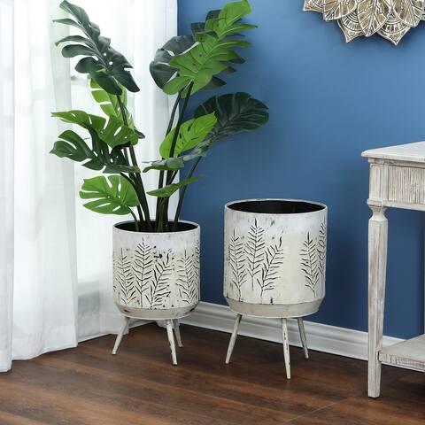 2-Piece Metal Leaf Stamped Planter Pots