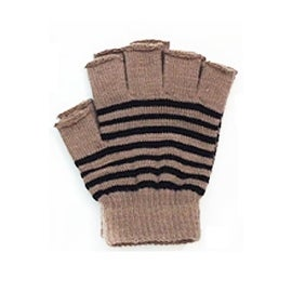 Womens Striped Fingerless Knit Gloves