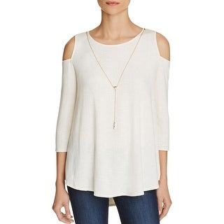 Status by Chenault Womens Pullover Top Shadow Striped Open Shoulder