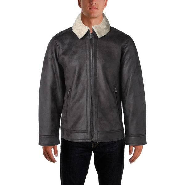 Nautica Mens Coat Sherling Faux Leather