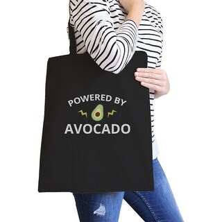 Powered By Avocado Black Reusable Canvas Tote Cute Graphic Tote Bag - White