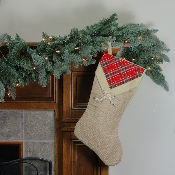 Burlap Christmas Stockings.20 5 Rustic Burlap Christmas Stocking With Plaid V Cuff Brown