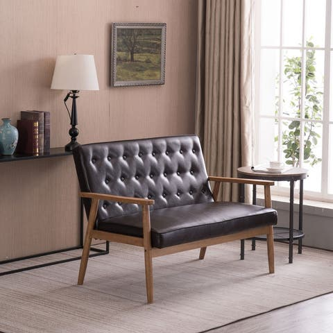 Retro Lounge Chair Solid Wood Frame Loveseat for Living Room