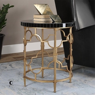"""26"""" Hand Forged Iron with Antiqued Gold Leaf  Black Glass Accent Table"""