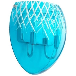 Cyan Design Etched Sconce Etched 2 Light Wall Sconce with Blue Shade