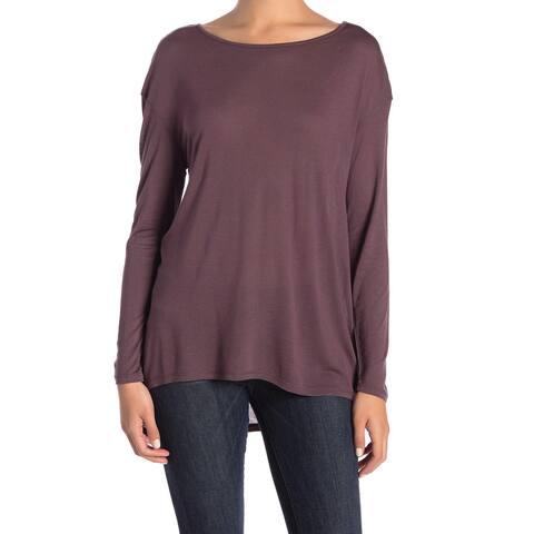 14th & Union Women's Knit Top Tee Solid Purple Size XL Scoop Neck Hi-Lo
