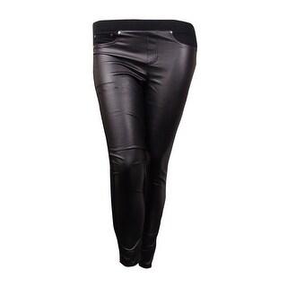 Tinseltown Juniors Skinny Faux-Leather Pants (Black, L) - Black