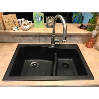 Kraus KGD-442 Quarza 33-in Undermount Drop-in Dual Mount 60/40 2-Bowl Granite Kitchen Sink,colors Black/Grey/Brown/White