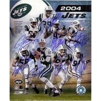 Signed Jets New York 2004 8x10 Donnie Abraham Santana Moss Sam Cowart Chad Pennington Wayne Chrebet