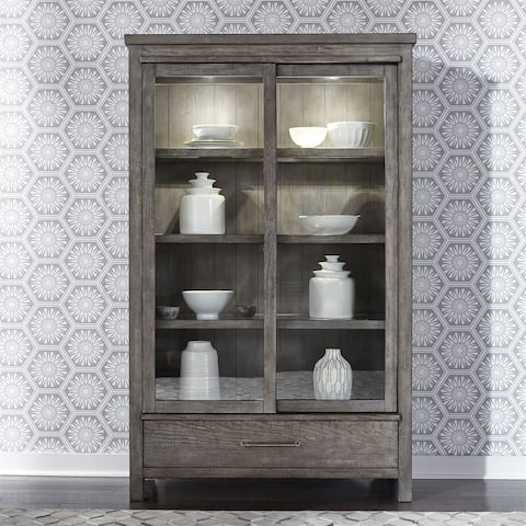 The Gray Barn Hammond Mill Farmhouse Dusty Charcoal 1-drawer Display Cabinet