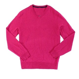 Club Room NEW Berry Pink Mens Size 2XL 1/2 Zip V-Neck Wool Sweater