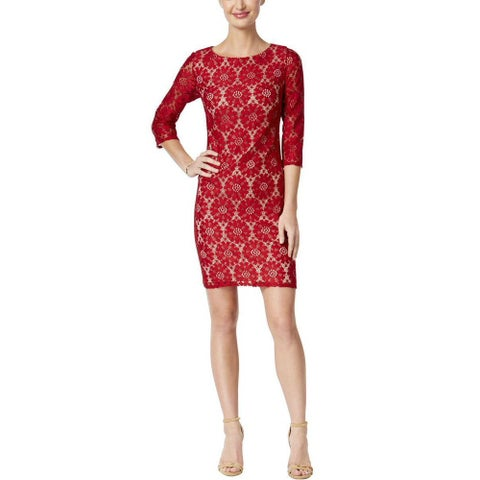Jessica Howard Petite Lace Sheath Dress Dark Red - 14P