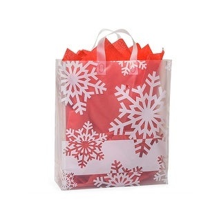 """Pack of 100, Queen Snowflake Flurry Plastic Bags 4 Mil Shopping Bags 16 X 6 X 18"""" For Christmas Packaging"""