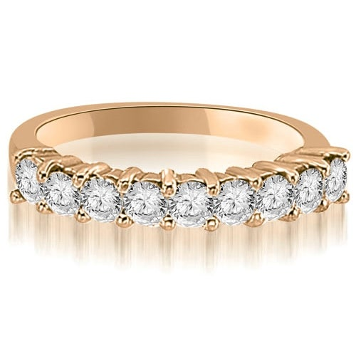 0.60 cttw. 14K Rose Gold Round Diamond 9-Stone Prong Wedding Band